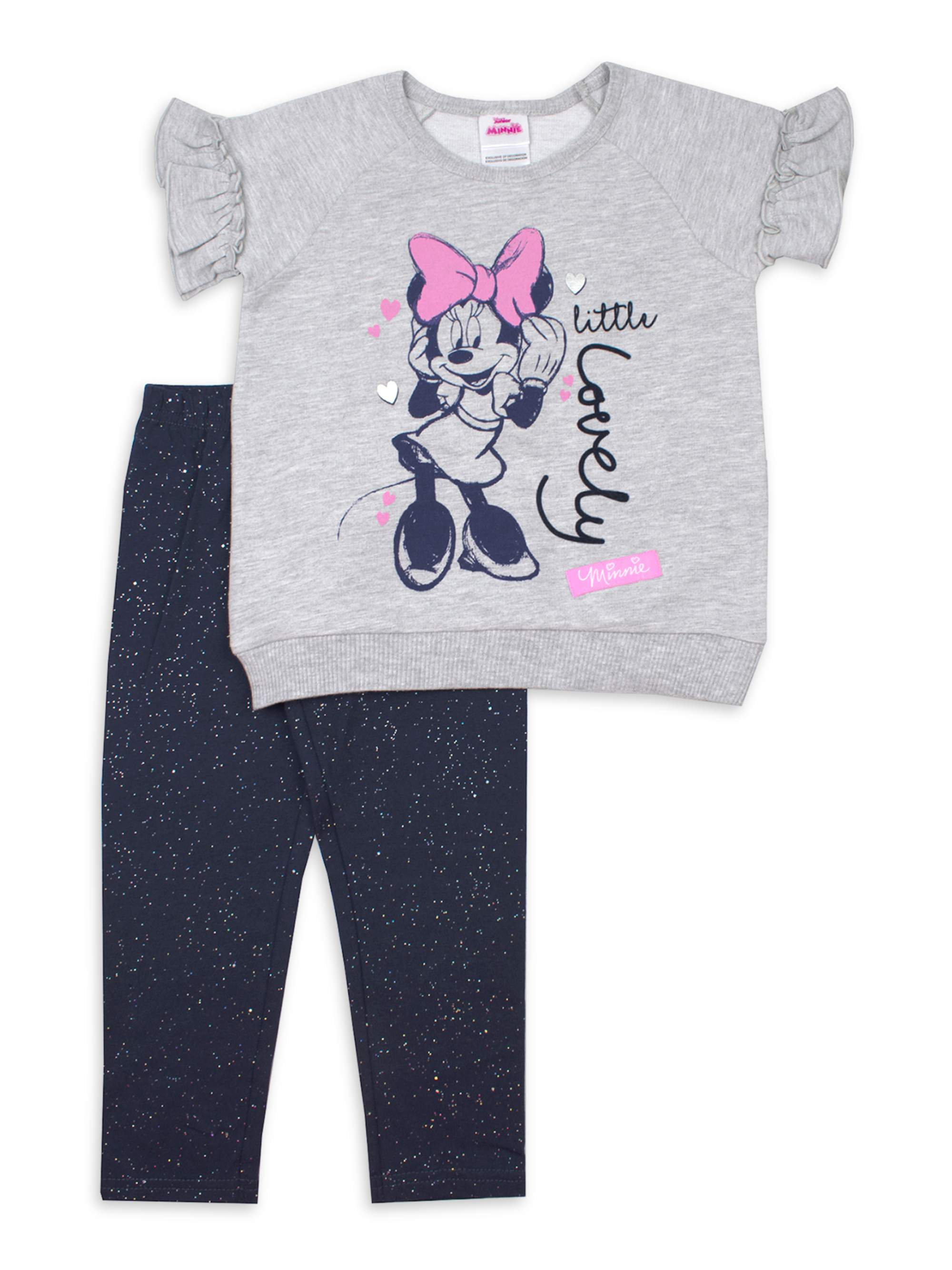 Disney Minnie Mouse Girls French Terry T-Shirt and Shorts Set