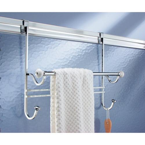 Average Height Of Towel Bar In Bathroom: InterDesign York Over-The-Door Towel Rack, White/Chrome