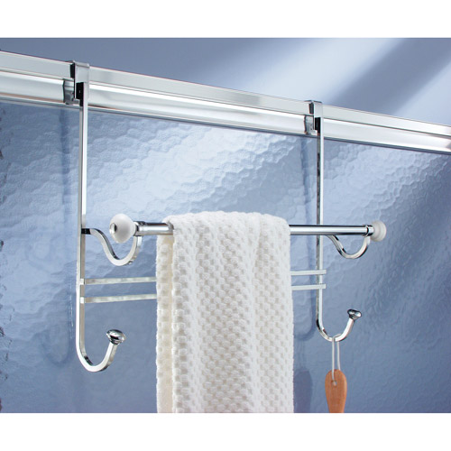 InterDesign York Over-The-Door Towel Rack, White/Chrome