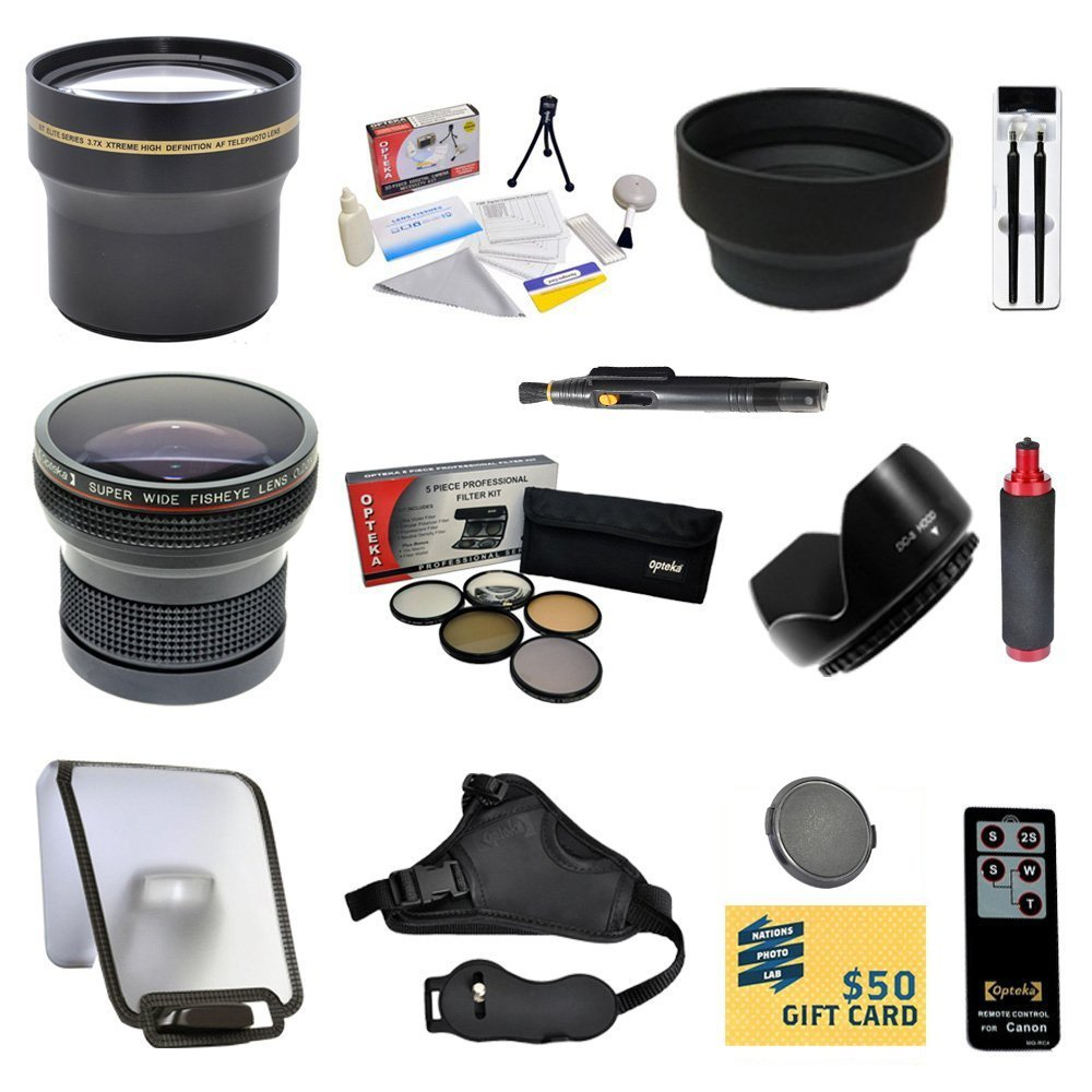 Enthusiast Kit for Canon EOS REBEL T5i T4i T3i T3 SL1 with 0.20X + 3.7x Lens + Pro 5 Piece Filter Kit + Grip Strap + Handgrip + Wireless Remote + Sensor Cleaning Kit + $50 Gift Card + More