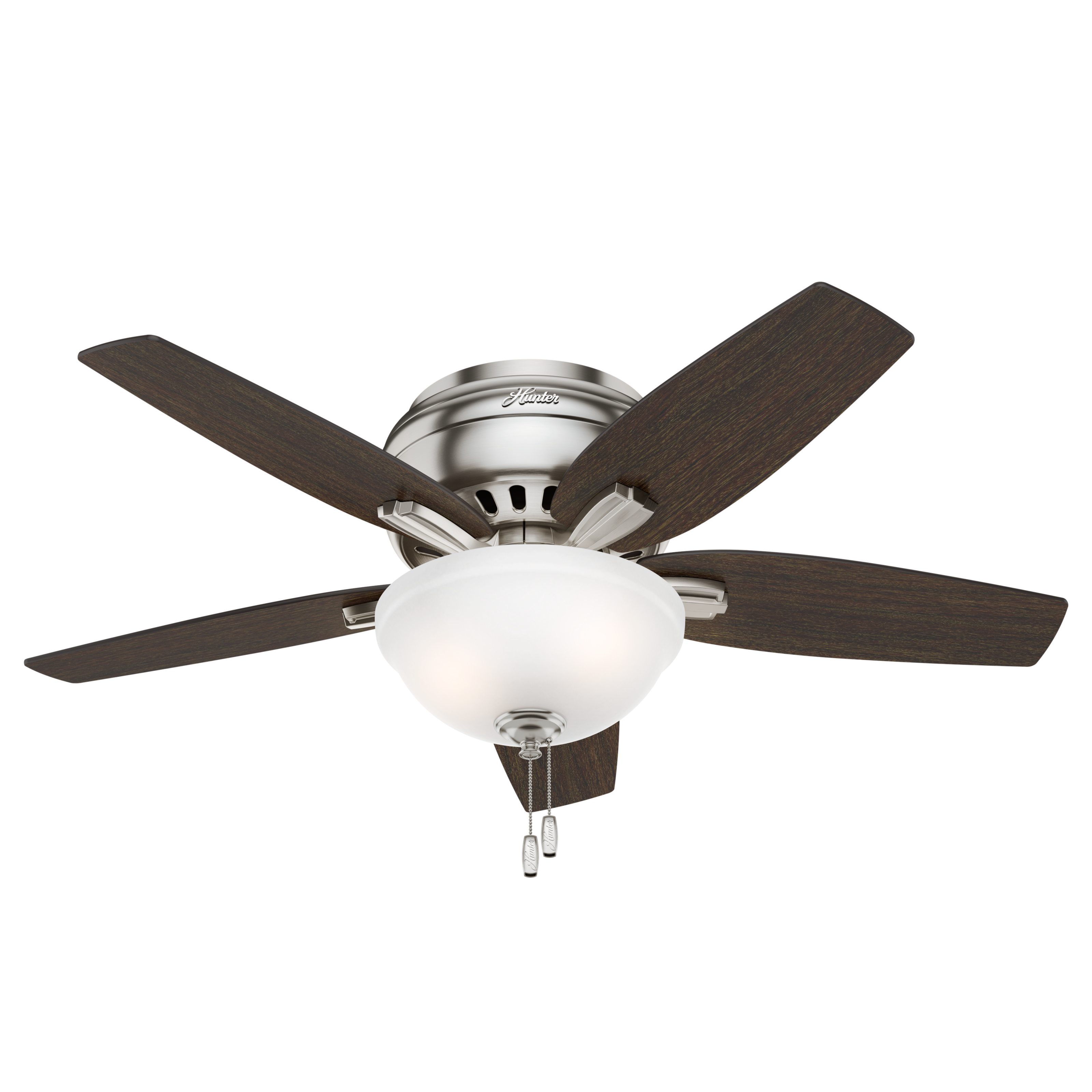 "42"" Hunter Newsome Low Profile Bowl Light Brushed Nickel Ceiling Fan with Light Kit"