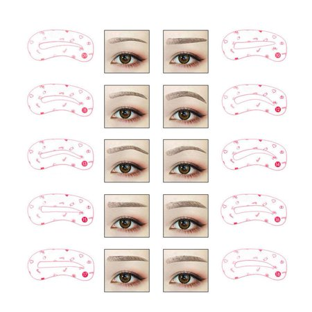 Greensen 24Types Eyebrows Shaped Cards Kit Reusable Eyebrow Template Makeup (Best Place To Have Eyebrows Shaped)