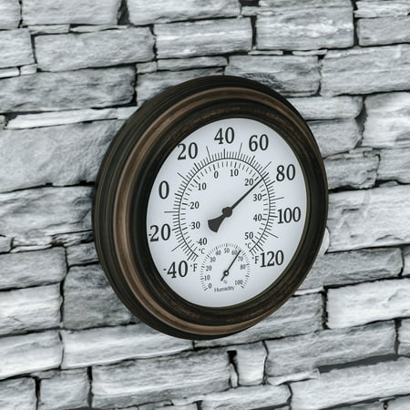 "Wall Thermometer-Decorative Indoor Outdoor Temperature and Hygrometer Humidity Gauge-5.5"" Display for Patio, Porch, Sunroom or Anywhere by Pure Garden ()"