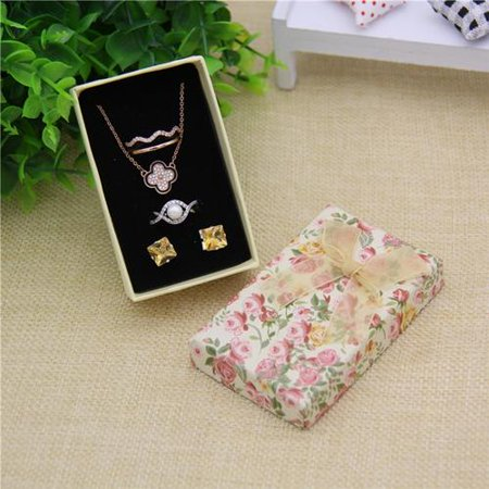 Women Fashion Jewelry Box Paper Bow Pendant Box Spot Rose Ring Stud Earring Box Rose Floral 5*8 Set Box (Bow Ring Jewellery Box)
