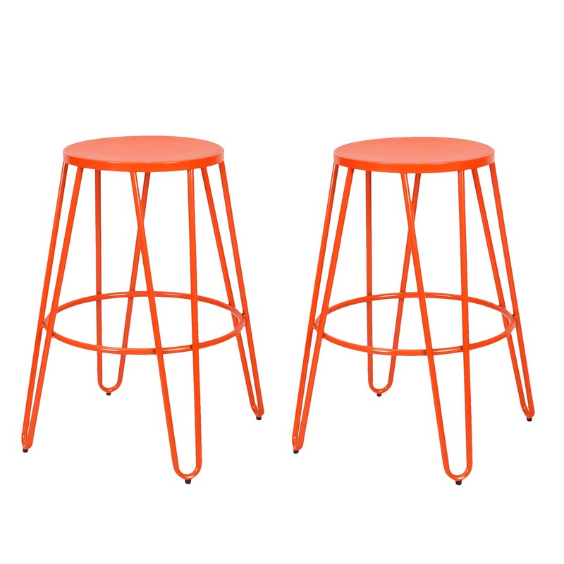 Joveco Metal Stackable Round Top Backless Barstools