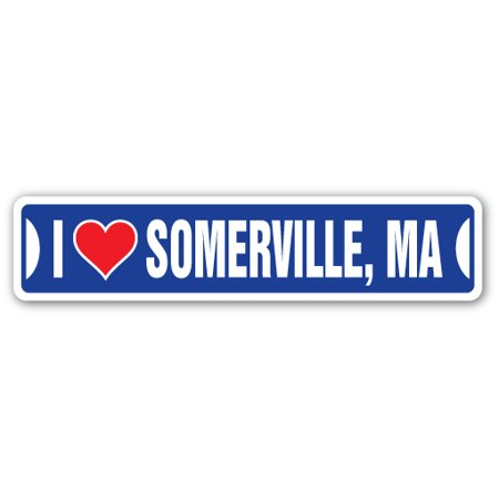 I LOVE SOMERVILLE, MASSACHUSETTS Street Sign ma city state us wall road décor gift](Party City Ma)