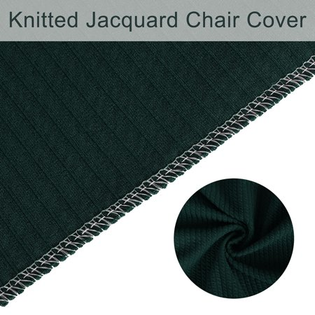 Stretch Knit Jacquard Chair Cover Short Dining Chair Slipcover Dark Green - image 2 de 7
