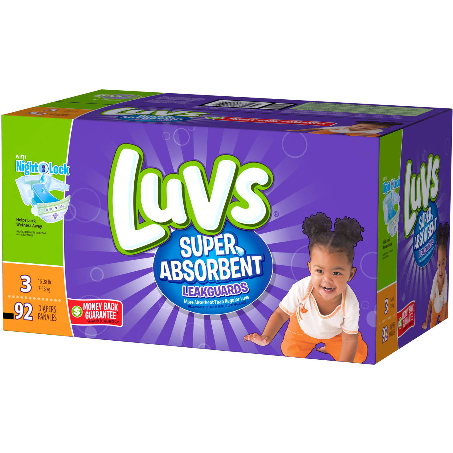 Luvs Super Absorbent Disposable Diapers Family Pack, (Choose your Size)
