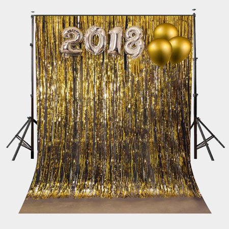 HelloDecor Polyester Fabric 5x7ft Shimmer Gold Theme Backdrop Metallic Tinsel Gold Background for Party New Year Photo Backdrop](Tinsel Backdrop)