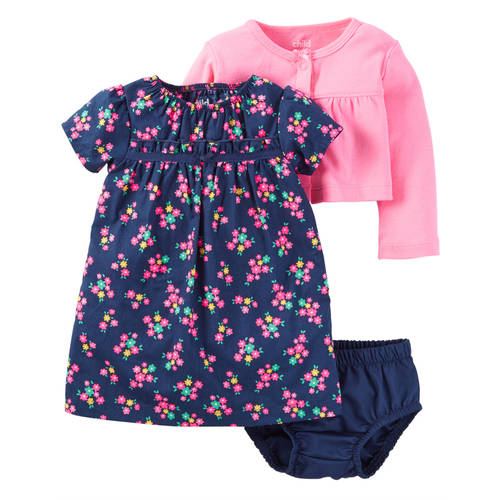 Child of Mine by Carter's Newborn Baby Girl Sweater, Dress, and Panty Outfit Set