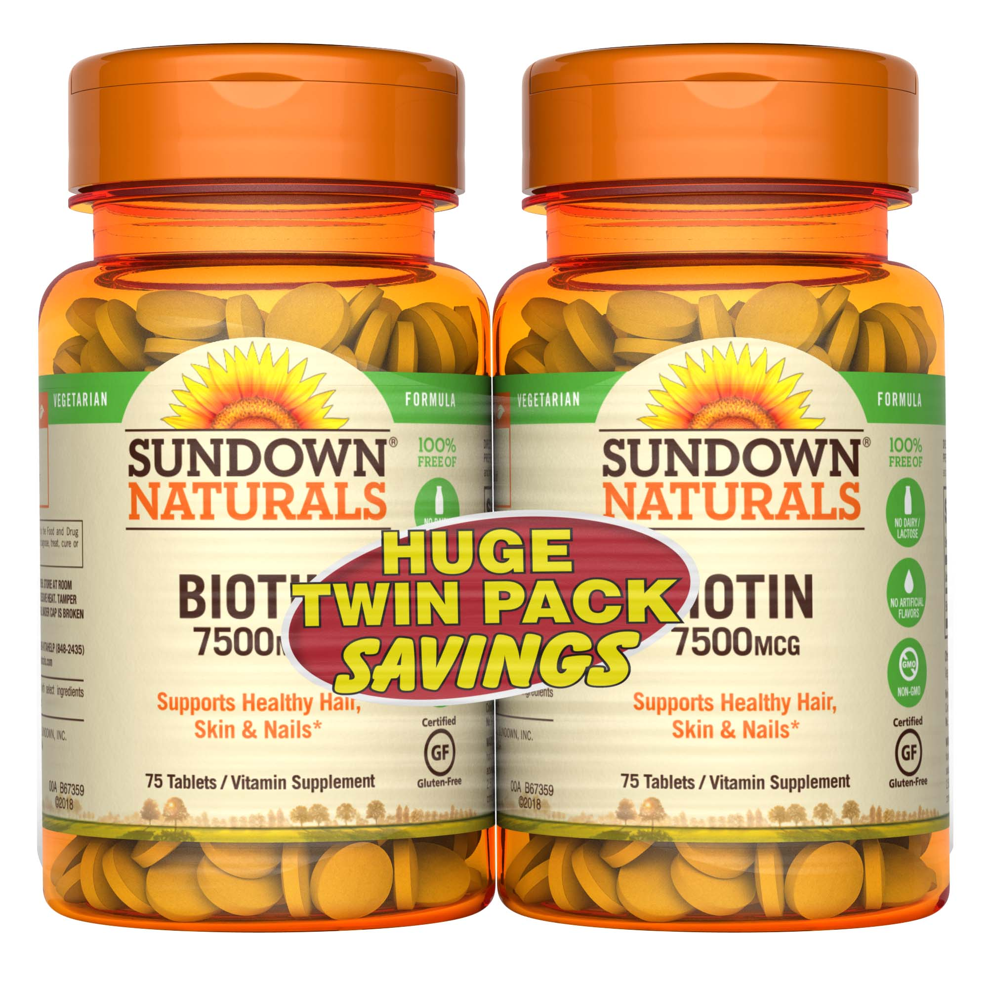 (2 Pack) Sundown Naturals Biotin Tablets, 7500 mcg, 75 Ct