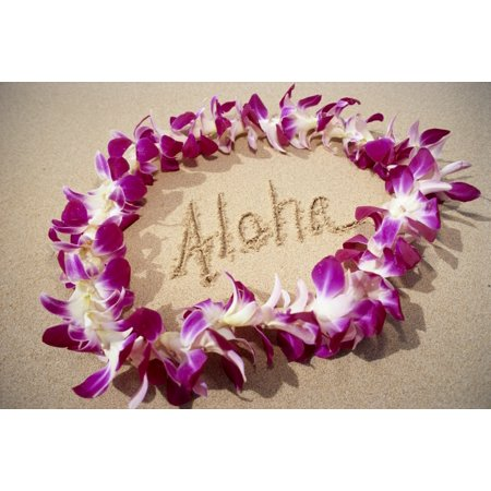 - Hawaii Close-Up Detail Of Purple Orchid Lei On Beach Aloha Written In Sand C1445 Stretched Canvas - Mary Van de Ven  Design Pics (38 x 24)