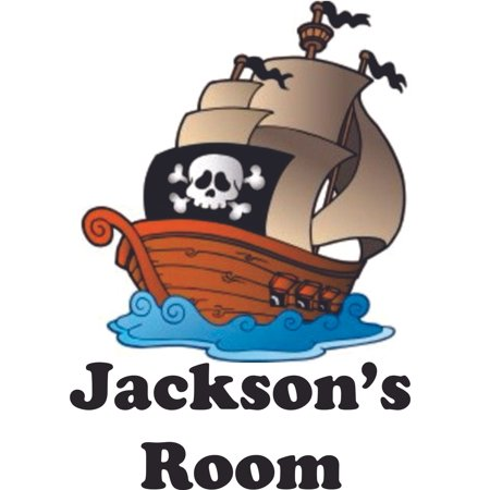 Pirate Wall Decor (Unique Colorful Pirate Ship Personalized Name Custom Names Pirate Ship Wall Decals - Boys Room Pirates Ships Kids Decor Sticker Room Decoration for Bedrooms - Stickers Boy Designs Size (30x30)