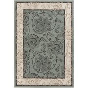 6' x 9' Trellis Tranquility Black, White Ivory, Green and Tan Shed-Free Area Throw Rug
