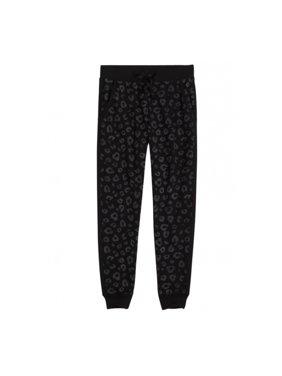 Justice Girls Animal Print Jogger Athletic Sweatpants, Black, 5