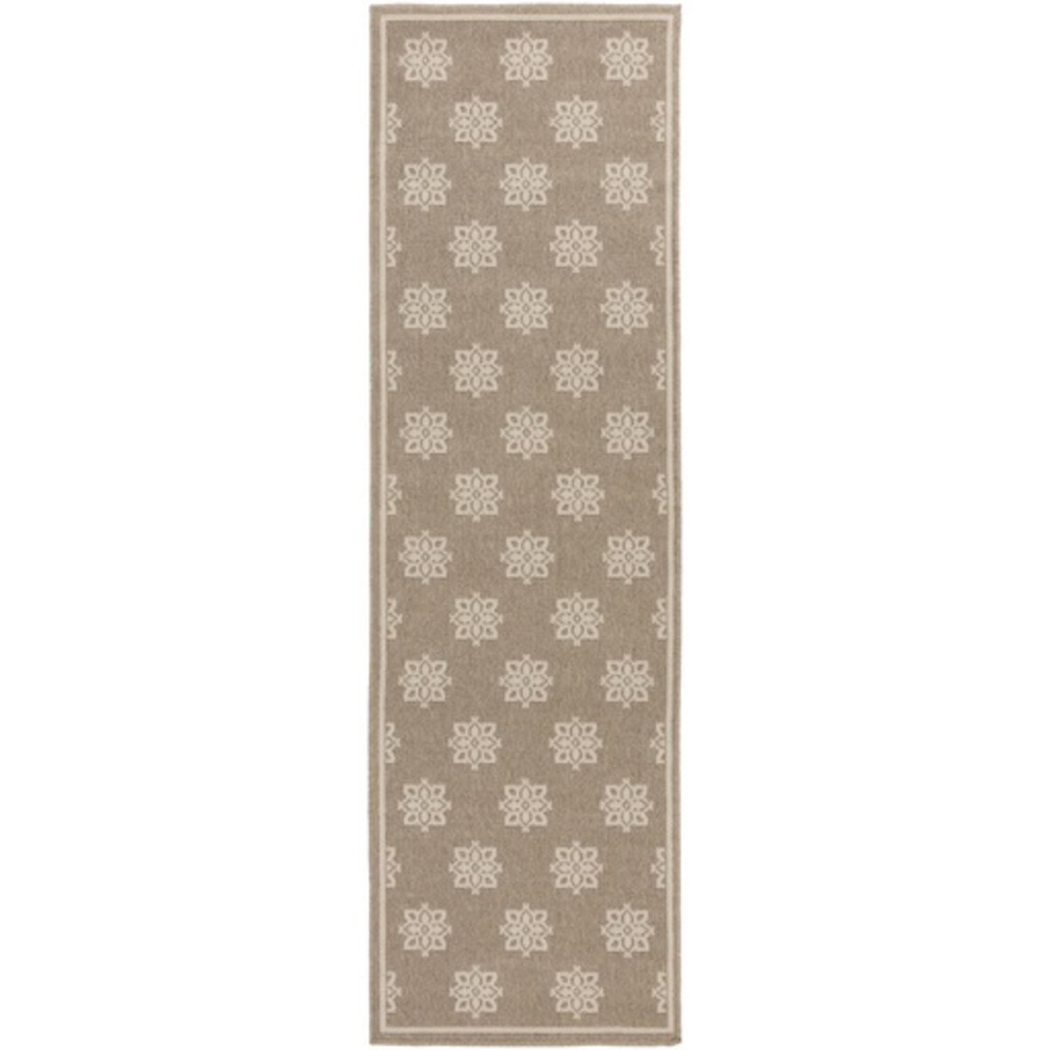 2.25' x 11.75' Summer Snowflake Tan and Beige Shed-Free Area Throw Rug Runner