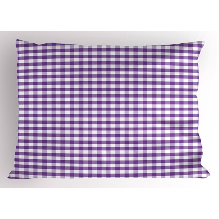 Checkered Pillow Sham Purple and White Colored Gingham Checks Rows Picnic Theme Vintage Style Print, Decorative Standard Queen Size Printed Pillowcase, 30 X 20 Inches, Purple White, by Ambesonne