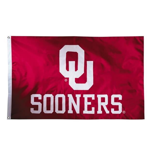Bsi Products  Oklahoma Sooners - 2-sided Nylon Applique 3 x 5 ft. Flag With grommets
