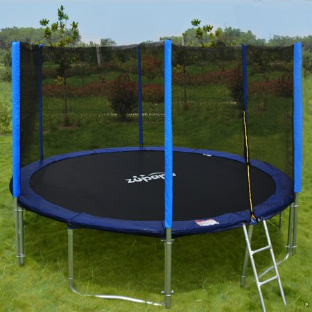 Zupapa 15 14 12 Trampoline With Enclosure  T V Certified  Jump Safely   Blue Round