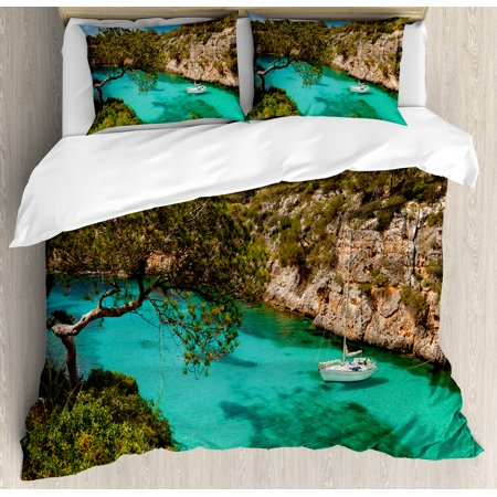 Nature King Size Duvet Cover Set  Small Yacht Floating In Sea Majorca Spain Rocky Hills Forest Trees Scenic View  Decorative 3 Piece Bedding Set With 2 Pillow Shams  Green Aqua Blue  By Ambesonne