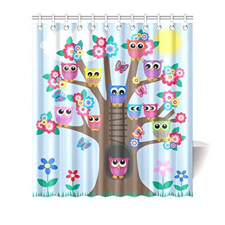MYPOP Funny Owl Home Decor Cute Owls on Tree Best Friends Forever Design for Friendship Decor for Teens and Girls Bathroom Shower Curtain 66 X 72 Inches, Blue Brown