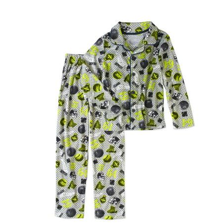 Sleep Tight Boys' Flannel Coat Style Pajama 2pc Sleepwear Set
