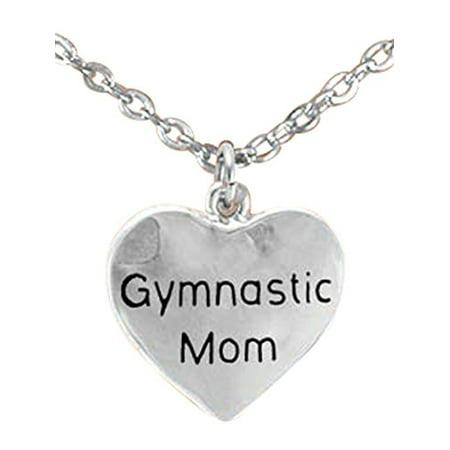 Gymnastic Mom Heart Necklace, Adjustable, Hypoallergenic, Nickel, Lead, & Cadmium Free