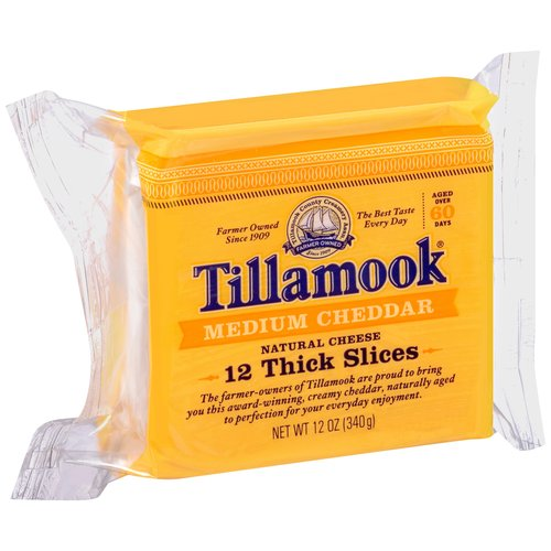 Tillamook Sliced Medium Cheddar Cheese, 12 oz
