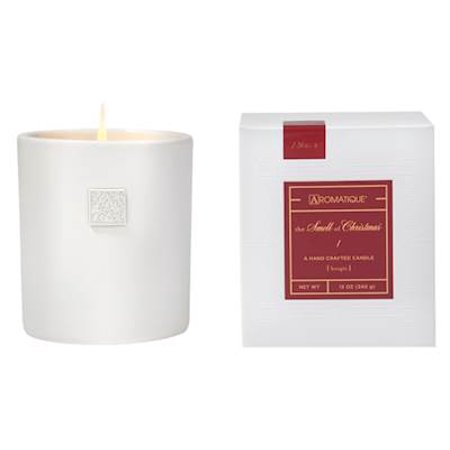 THE SMELL OF CHRISTMAS  Aromatique Large Boxed 12 oz White Ceramic Scented Jar Candle