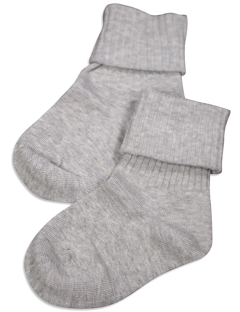 Tic Tac Toe - Little Girls Triple Roll Socks Grey / X-Large