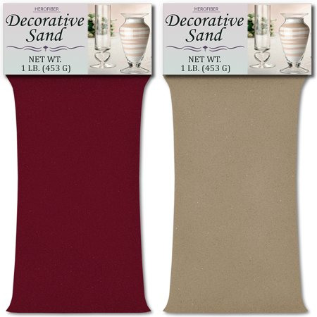 HeroFiber Colored Unity Sand (2 lbs.) - Burgundy and Beach - 1 lbs. per Color - Decorative Art Sand for Weddings, Vase Filling, Kids' Craft - Beach Wedding Colors