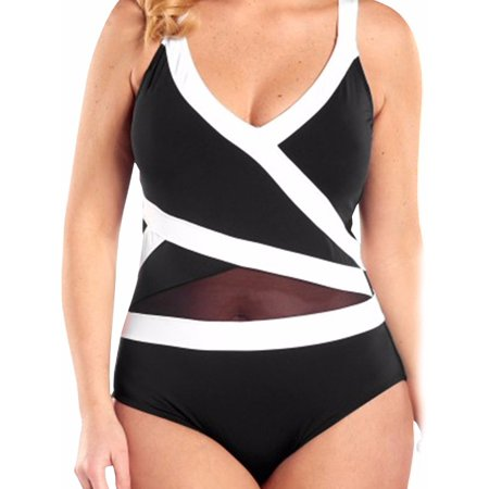 FITTOO Swimsuits Bathing Suit Sexy Mesh Net One-Piece Swimwear Women Plus Size Bodysuit Brazilian Biquinis (Women One Piece Bathing Suit)