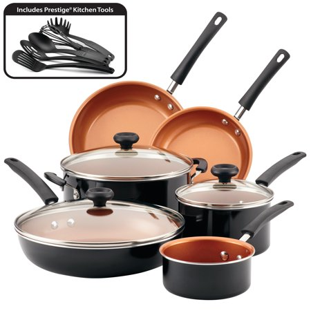 Farberware 14-Piece Easy Clean Pro Ceramic Nonstick Pots and Pans Set/Cookware Set, Black