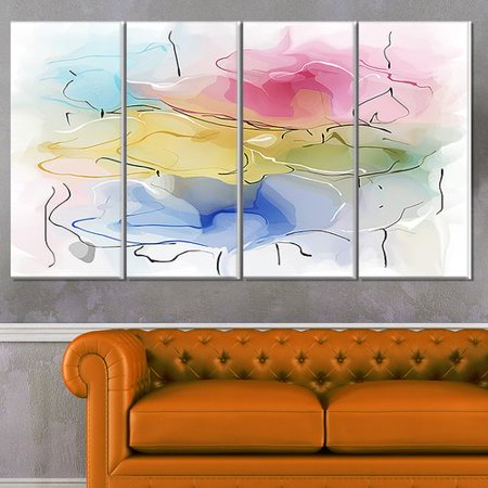 (Design Art 'Abstract Floral Illustration Design' 4 Piece Painting Print on Wrapped Canvas Set)