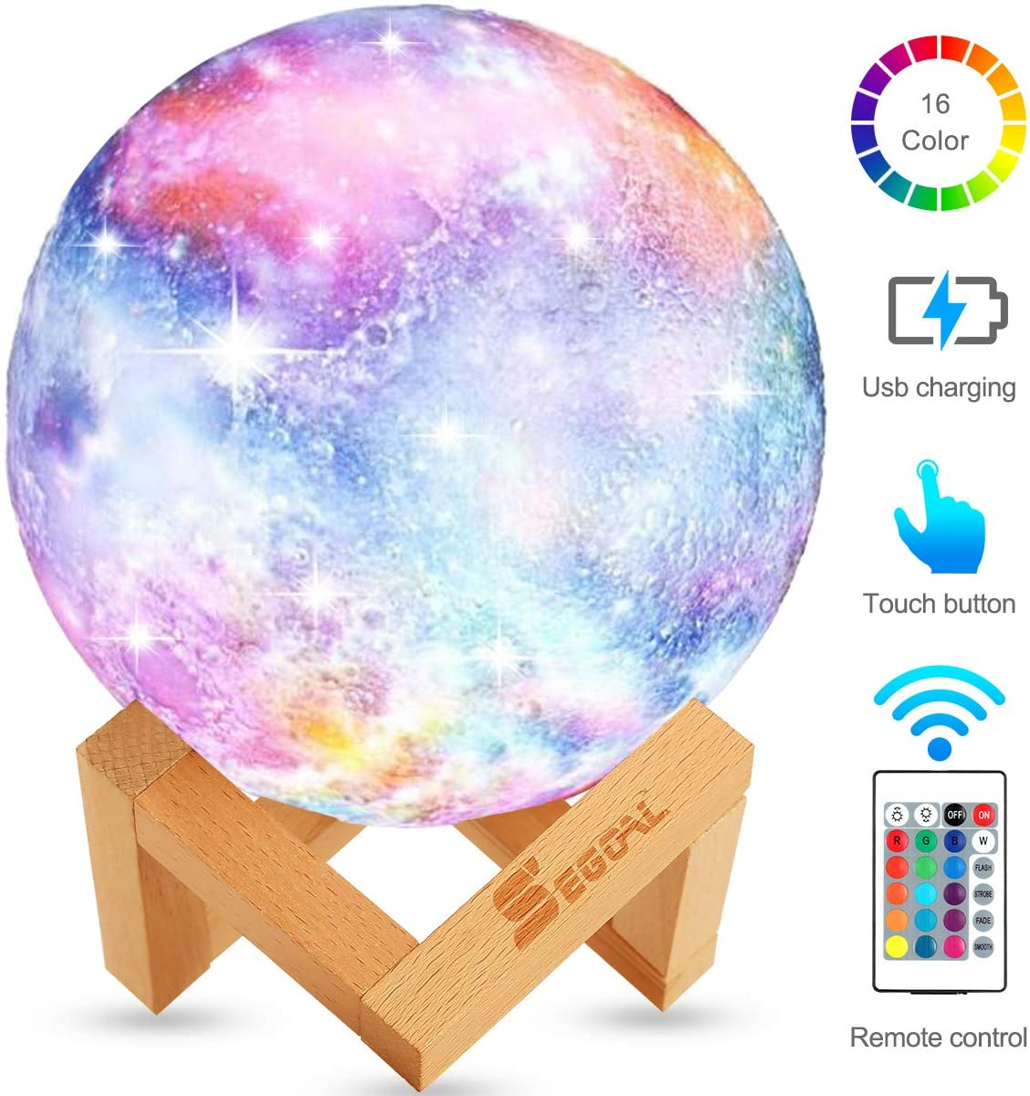 3D Galaxy Star LED Moon Lamp 16 Color Changing Night Light Touch+Remote Control