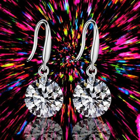 Women Elegant Fashion Silver Crystal Rhinestone Ear Stud Earrings