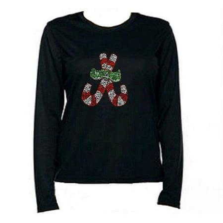 fac3a8f8dd Bling Christmas Candy Cane T-Shirt KPF3-LR - Medium