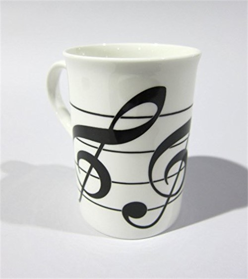 English Bone China Coffee Mug 3 Treble Clefs by The Music Company