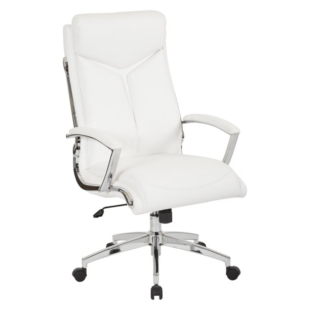 Work Smart Executive Faux Leather High Back Office Chair With Padded Arms And Chrome Finish Base Walmart Com Walmart Com