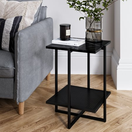 Myles Night Stand Accent Table with Black Marble Top and Black Metal Base (Black Tabletop Stand)