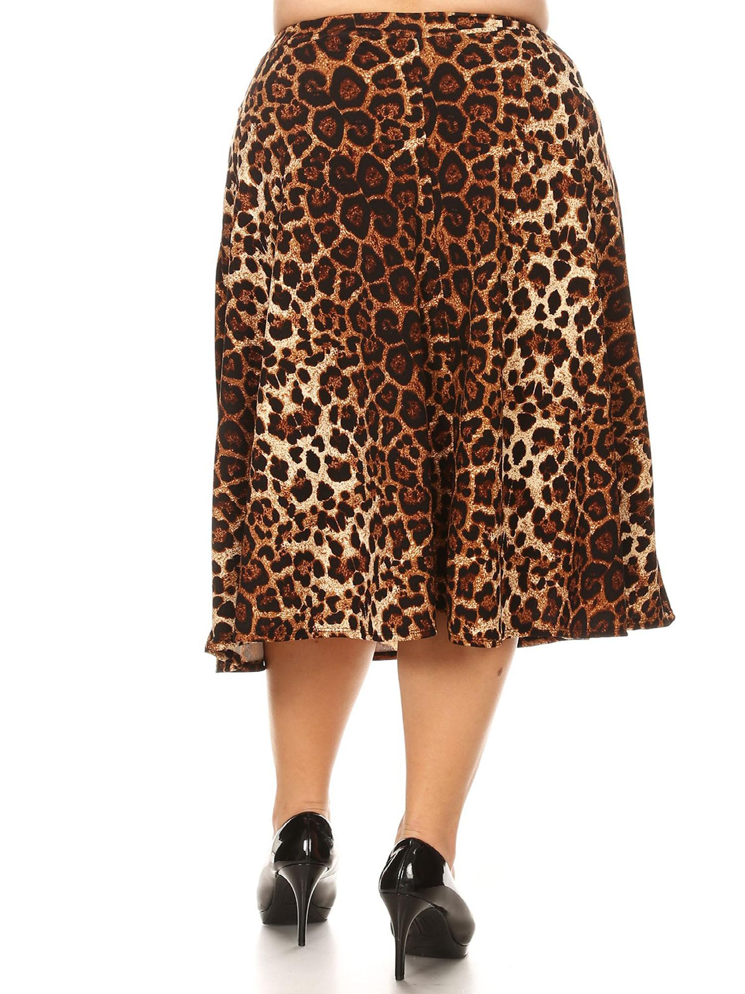 770fd78036f MOA COLLECTION Women s Plus Size Pattern Print Loose Fit Elastic Waist Pleat  A-Line Casual Midi Skirt