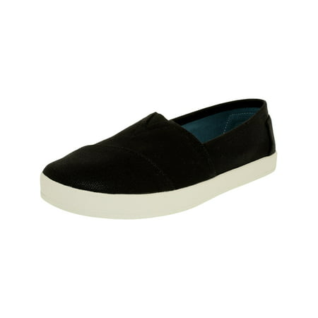 Coated Canvas Black Leather (Toms Women's Avalon Slipon Canvas Black Ankle-High Slip-On Shoes -)