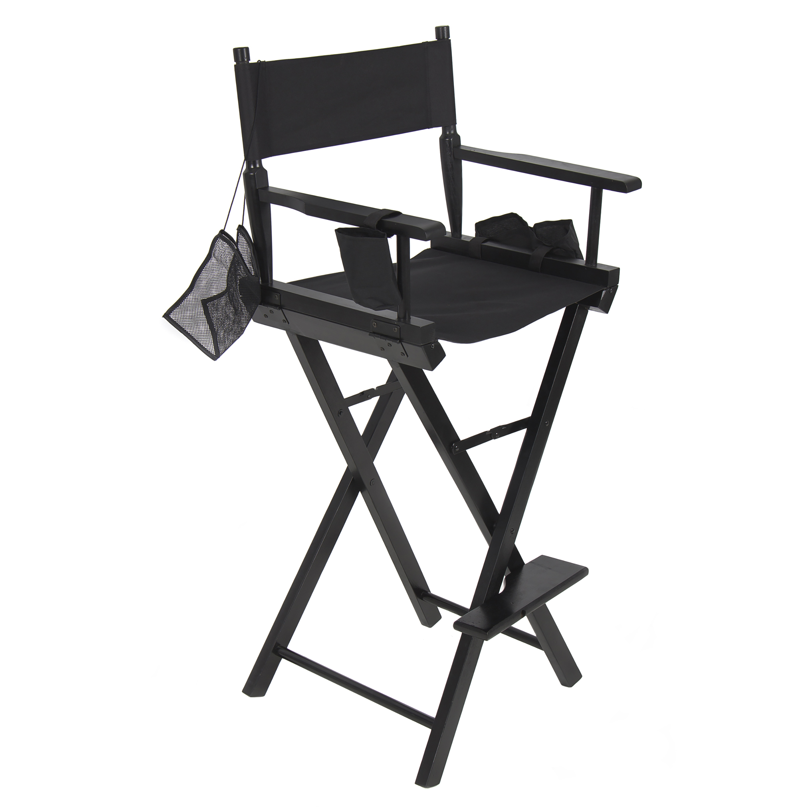 Best Choice Products Foldable Lightweight Professional Makeup Artist Directors Chair w/ Water Bottle Holder, Accessory Pouch, Small Storage Pouches - Black