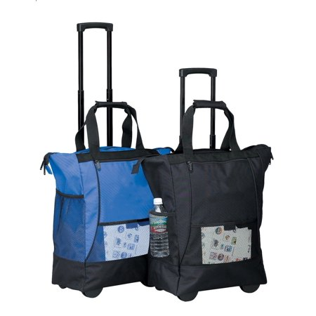 BLUE On the Go Rolling Shopping Tote w/ Wheels, Material: 600D Polyester (Shopping Bags With Wheels)
