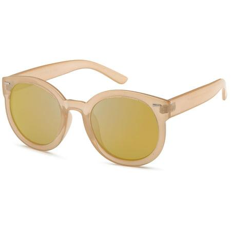 CATWALK Womens Oversized Cat Eye Plastic Fashion Frame Sunglasses with Mirror Flash Lens Option - Mirror Copper Lens on Beige (Women With Cat Eyes)