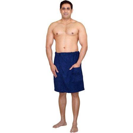 Men's 100% Terry Cotton Adjustable Velcro Body Wraps Spa Shower Towel Bath Wraps - Loop Terry Shower Wrap