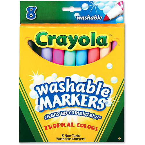 Crayola Ultra Clean Washable Markers, 8 Tropical Colors