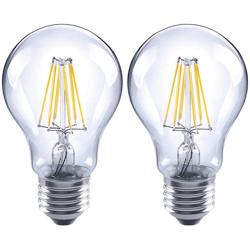 LUX LED A19 Filament LED Bulb, E26 6.5W (60 Watt Equiv.) Dimmable, 2700K, 810 Lumens, 2-Pack