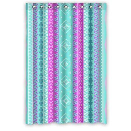 GreenDecor Neon Pink Teal Aztec Abstract Triangles Waterproof Shower Curtain Set with Hooks Bathroom Accessories Size 48x72 inches ()