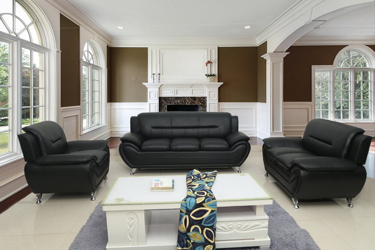 terrific black leather living room set   US Pride Furniture Timmy T Faux Leather 3 Piece Living ...